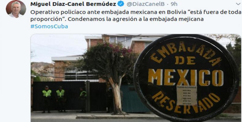 Presidente de Cuba condena operativo policiaco contra embajada de México en Bolivia