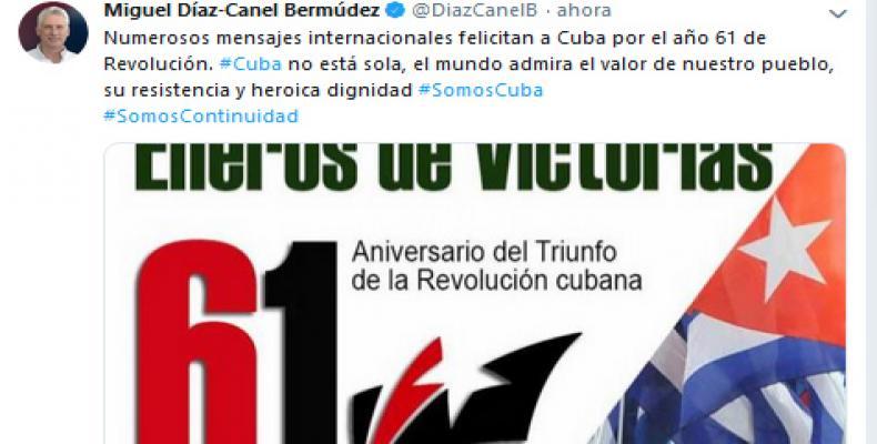Reitera Díaz-Canel que el mundo admira el valor del pueblo cubano