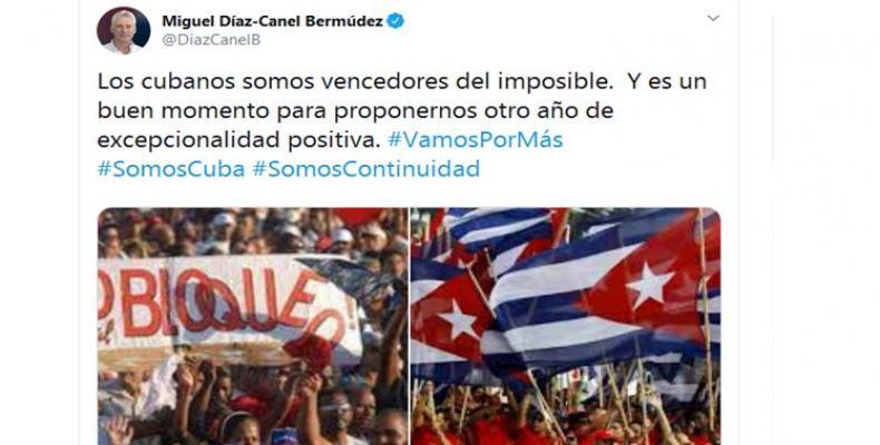 Asegura Díaz Canel que cubanos son vencedores de lo imposible