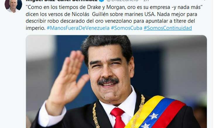 Presidente de Cuba califica de robo retención de oro venezolano